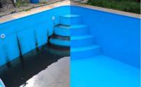 Bazén před a po čištění